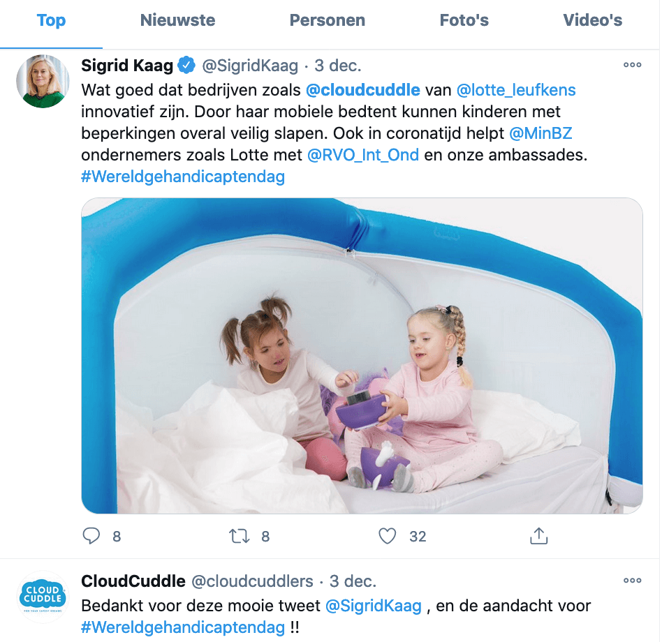 tweet CloudCuddle minister Sigrid Kaag